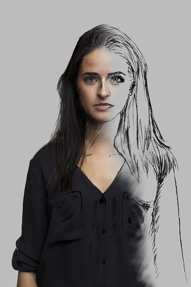 Melina - Sketch-Portrait. Im Laufe seiner Ausbildung taucht der Schüler mit einer solchen Intensität in Formen und Grafiken ein, dass er zeitweise in diesen zu verschmelzen scheint.